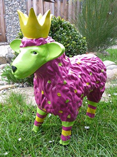 FD Gartenfigur lustiges buntes Schaf mit Krone Garten Deko Tier Lamm Königsschaf in Brombeer