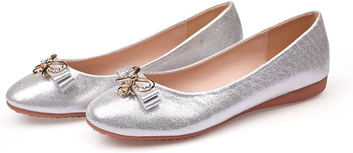 T-JULY Women's Flats shoes Casual Round Toe Soft Ballet Rhinestone Comfort Slip On