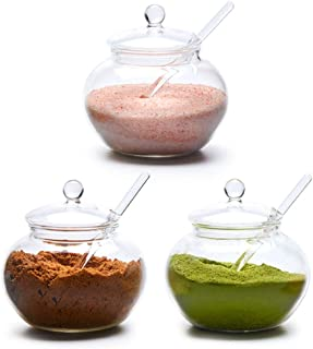 EZOWare Clear Glass Spice Jar Set, Condiment Pots Kitchen Storage Organizer Container Pots with Lid and Serving Spoon for Spices, Seasonings, Sauces, Salts, Sugar, Condiments - Set of 3, 250ml