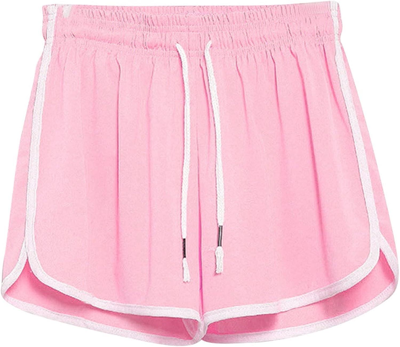 POLLYANNA KEONG Shorts for Women Casual Summer, Women Casual Elastic Waist Drawstring Shorts Pockets Summer Beach Shorts