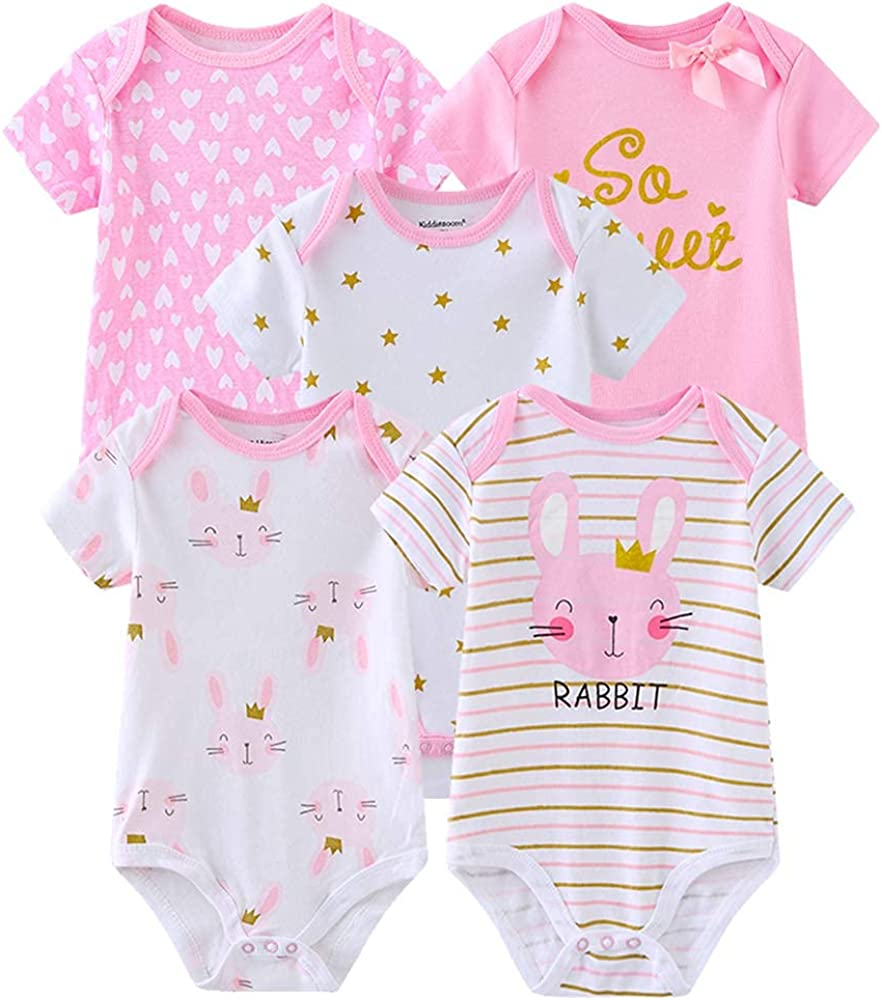 Chamie Newborn Baby Bodysuit Short Sleeve Onesies Baby Clothes for Boys and Girls (pink1, 6 Months)
