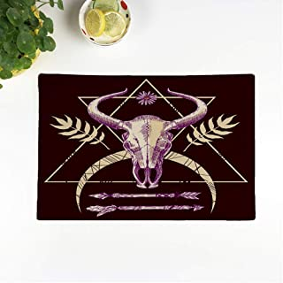 rouihot Set of 4 Placemats Anatomy Sketch Animal Skull Drawing Boho Tattoo Arrow Awesome 12.5x17 Inch Non-Slip Washable Place Mats for Dinner Parties Decor Kitchen Table