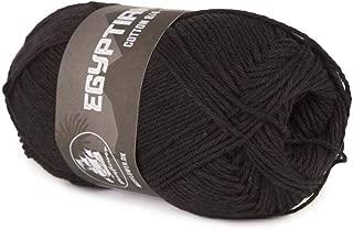 Happy Place Crafts - Organic Egyptian Cotton Yarn Luxury Egyptian Giza Cotton Yarn for Crocheting or Knitting - Soft, 100% Organic, GOTS Certified (Black, 8/4)