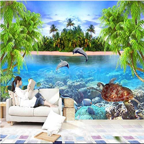 ZJfong Pas elke grootte Fresco Wallpaper 3D Dolphin Bay Lover Lounge Slaapkamer Slaapbank TV Achtergrond Decoratieve Schilderij 330x210cm