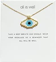 BALIBALI Miyuki Seed Beads Jewelry Evil Eye Hamsa Hand Pendant Necklace with Message Card Gift Card for Women Jewelry Gift for Women Girls
