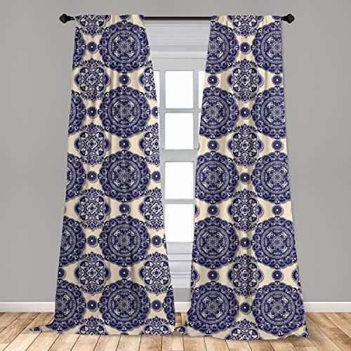 Ambesonne Mandala Curtains, Ornamental Flower Pattern Shadow Effect Royal Retro Revival Medieval Exotic, Window Treatments 2 Panel Set for Living Room Bedroom Decor, 56' x 95', Navy Blue