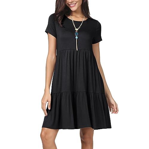 Black Dress with Short Sleeves: Amazon com