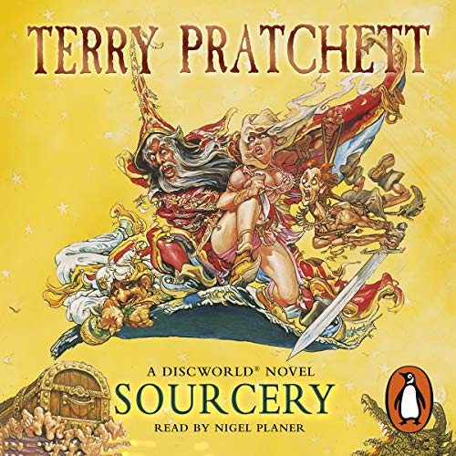 Sourcery                   By:                                                                                                                                 Terry Pratchett                               Narrated by:                                                                                                                                 Nigel Planer                      Length: 7 hrs and 52 mins     109 ratings     Overall 4.6