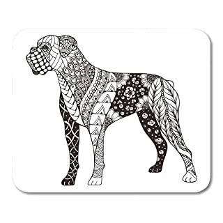 Yanteng Mouse Pads Mouse Pads Book Boxer Dog Zentangle Freehand Pencil Pattern Zen Ornate Lace Mandala Adult Mouse pad for...