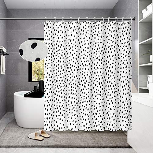 Housadora Black and White Polka dot Shower Curtain Simple Trendy Design for Bathroom Decor Waterproof Polyester Fabric Bathtub Curtain for Kids 71x71 inch
