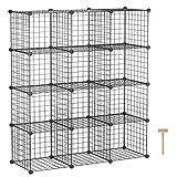 "C&AHOME Wire Cube Storage, 12-Cube Storage Organizer, Metal Stackable Storage Bins, Modular Bookshelf, DIY Closet Cabinet Ideal for Living Room, Bedroom, Office 36.6""L x 12.4""W x 48.4""H Black"