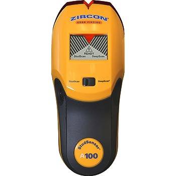 "Zircon Stud Finder DIY/Pro StudSensor A100 Wall Scanner; StudScan Detects Edges of Wood/Metal Studs at 3/4"" DeepScan Detects Wood/Metal to 1 1/2"" Alerts Presence of Live, Unshielded AC Wire US Model"