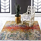 Unique Loom Outdoor Modern Collection Rustic Colorful Abstract Transitional Indoor and Outdoor Flatweave Multi Square Rug (6' 0 x 6' 0)