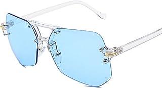Frameless gray black ant personality long face sunglasses female star new driving sunglasses men