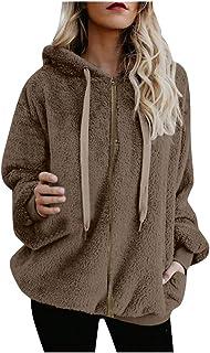 Reooly, Sudadera con Capucha Abrigo de Mujer Chaqueta de Abrigo de algodón con Bolsillo de Cremallera de Lana cálida de Invierno