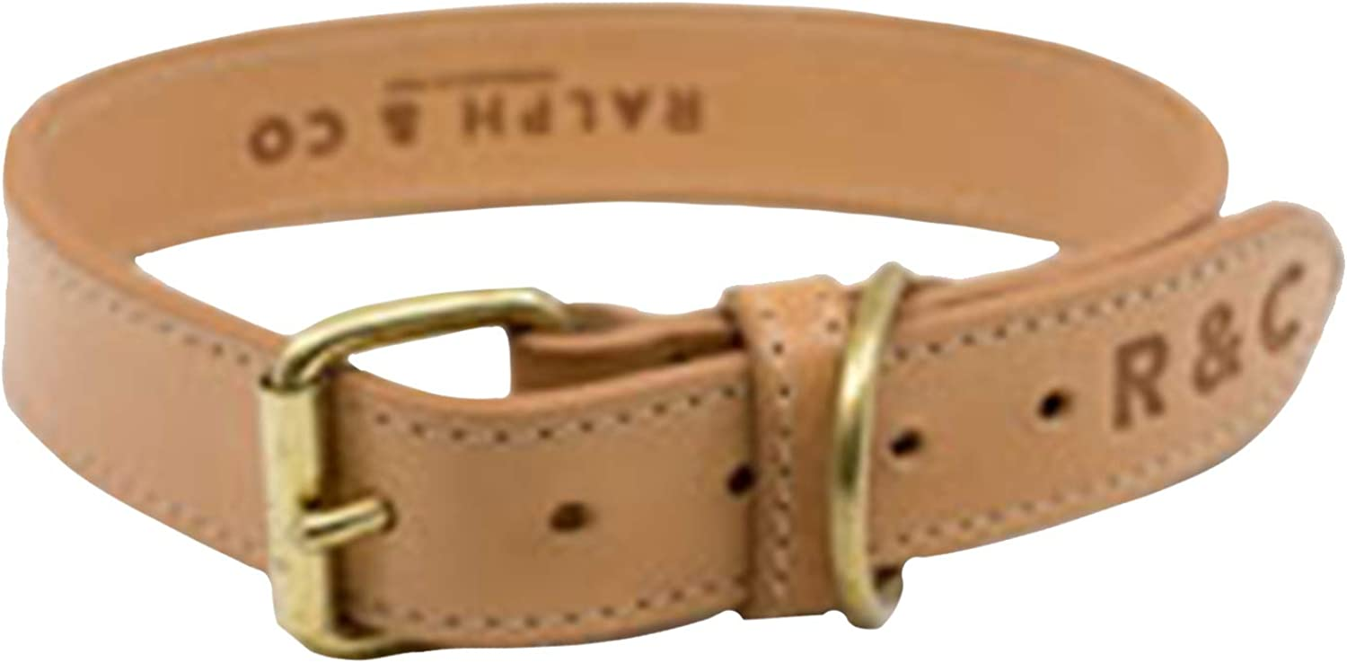 Ralph & Co Trieste Double Leather Dog Collar (Small) (Light Tan)