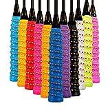 Chengstore Grip pour Raquette de Badminton Bicolore avec Trou pour Raquette de Badminton pour Une Prise en Main antidérapante et absorbante (Couleur aléatoire), comme sur l'image, 1pcs