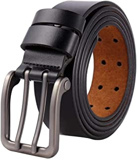 Men's Leather Belt with Double Fastener,Full Grain Real Leather With Anti-Scratch Pin Buckle, Great For Jeans, Casual (Color : Black, Size : 150cm)