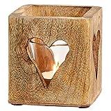 jakopabra Windlicht aus Holz mit Herz Ausschnitten/Teelichthalter Vintage Rustikal 9 cm