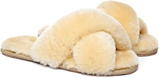 UGG Linty Women's Cross Band Slippers Soft Plush Furry Cozy House Shoes Open Toe Flip Flop