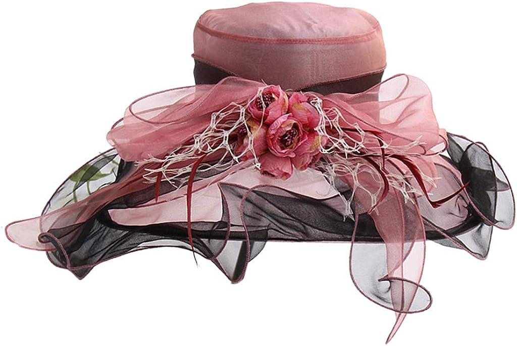 Womens Kentucky Tea Party Church Hat Contrast Color Ruffles Artificial Rose Floral Wide Brim Wedding Fascinator Cap
