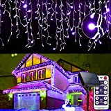Cortina luminosa de 256 LED, 5 m, cadena de luces con 8 modos, luces cascadas, luz de hielo, decoración interior exterior, ventana, patio, jardín, Navidad, Halloween, morado