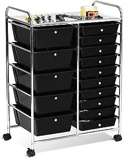 Giantex 15 Drawer Rolling Storage Cart Tools Scrapbook Paper Office School Organizer, Black