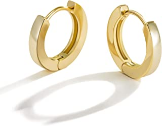 Small Gold Hoop Earrings for Women : 14k Real Gold Plated Hypoallergenic Tiny Cartilage Huggie Girls Ear Jewelry