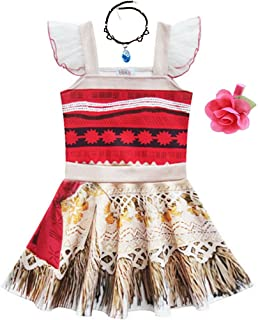 Toddler Little Girls Princess Dress Outfit with Ruffle Sleeve for Moana- Ladybug Cosplay Costume Party Dress up