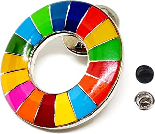SDGs バッジ ピンバッジ 国連本部最新仕様 シルバー 表面に丸みのあるタイプ