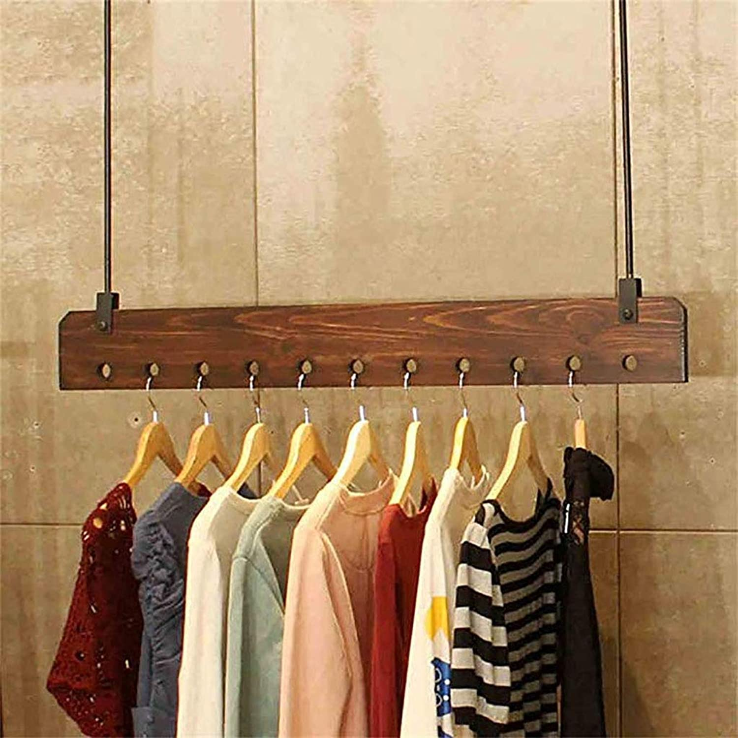 Wooden Wall Mounted Clothes Hanging for Home Clothing Store,Racks Display Stand,Wall Shelf,Display Shelves,Clothing Rack (Size   80 cm)