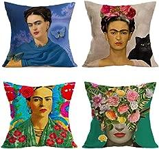 Joyi 4PCS Frida Kahlo Self-Portrait Cotton Linen Pillow Case Cover,18,Home Decor