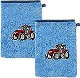 Erwin Müller Kinder-Waschlappen, Waschhandschuh 2er- Pack Frottier hellblau Größe 15x21 cm - mit hochwertigem Stickmotiv Traktor 100% Baumwolle