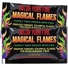 USE INDOOR & OUTDOOR: Perfect for campfires, bonfires, indoor fireplaces, backyard fire pits and any wood burning fires! EASY TO USE: Simply toss an UNOPENED pouch into fire to enjoy a brilliant display of colorful flames! BRILLIANT COLORS: Packets p...