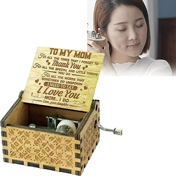 Restarty Music Box Daughter To Mom Thank You I Love You Engraved Music Box Vintage Gift Decoration