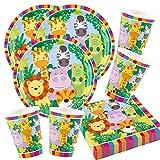 Unbekannt Set di 52 pezzi per feste con animali - giungla - Jungle - leone, zebra, giraffa, coccodrillo - piatti, bicchieri, tovaglioli per 16 bambini