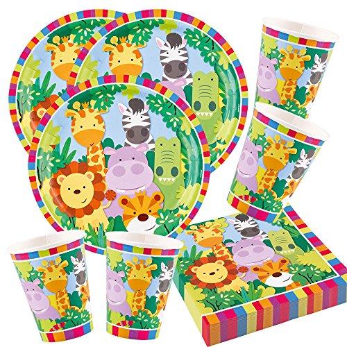 Unbekannt 52-teiliges Party-Set Tiere - Dschungel - Jungle - Löwe, Zebra, Giraffe, Krokodil - Teller Becher Servietten für 16 Kinder