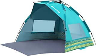 KingCamp Easy Setup Beach Tent Instant Sun Shelter Shader Deluxe XL with Extention Floor Privacy Door Semi-Closed Structure UPF 50+ UV Protection