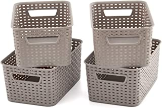 EZOWare Small Gray Plastic Knit Baskets Shelf Storage Organizer Perfect for Storing Small Household Items - Pack of 4 (11x7.3x5 inch)