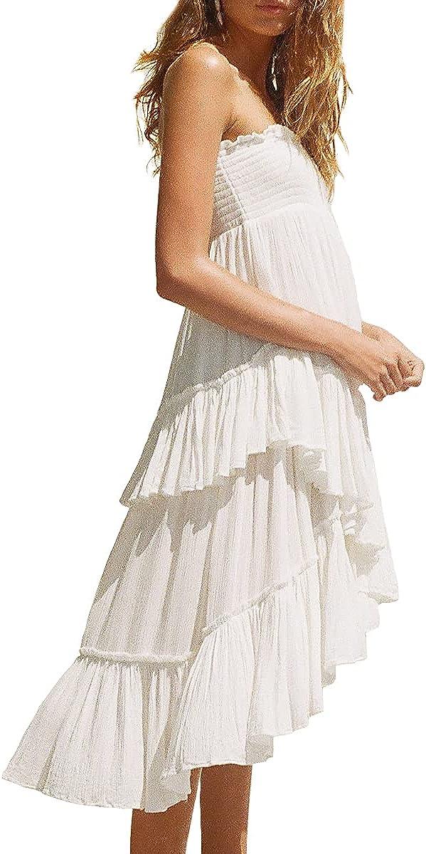 UIMLK Women's Summer High Low Bohemian Strapless Sleeveless Beach Dress Flowy Tiered Ruffle Midi Length Hippie Skirts
