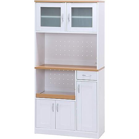 不二貿易 キッチンボード ホワイト ナチュラル 幅90cm サージュ スライド棚 コンセント付き 【2梱包】 99252