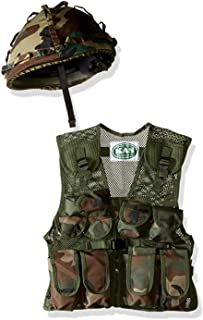 Kids Army Camo Helmet & Assault Vest Combo - with Free Army Dog Tags, Ages 5-13yrs