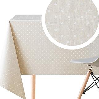 Mantel de PVC blanco con diseño de lunares, color beige y blanco con mantel rectangular de 200 x 140 cm, vinilo lavable con diseño de Pokadado retro