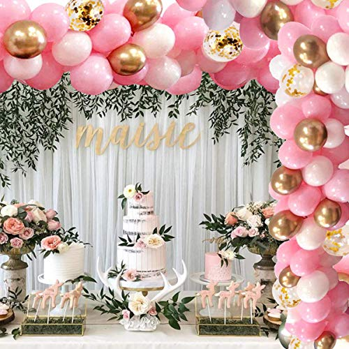 Balloon Garland Kit Arch, 16Ft Long White Pink Gold Confetti Balloons Pack for Girl Birthday Baby Shower Bachelorette Party Anniversary Wedding Decorations (#1)