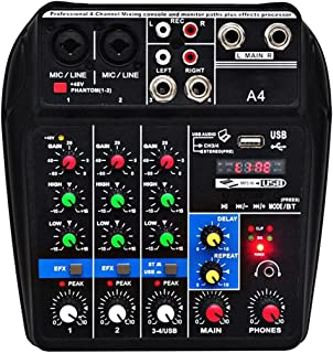 SMDMM A4 Sound Mixing Console Bluetooth USB Record Computer Playback 48v Phantom Power Delay Repaeat Effect 4 Channels USB