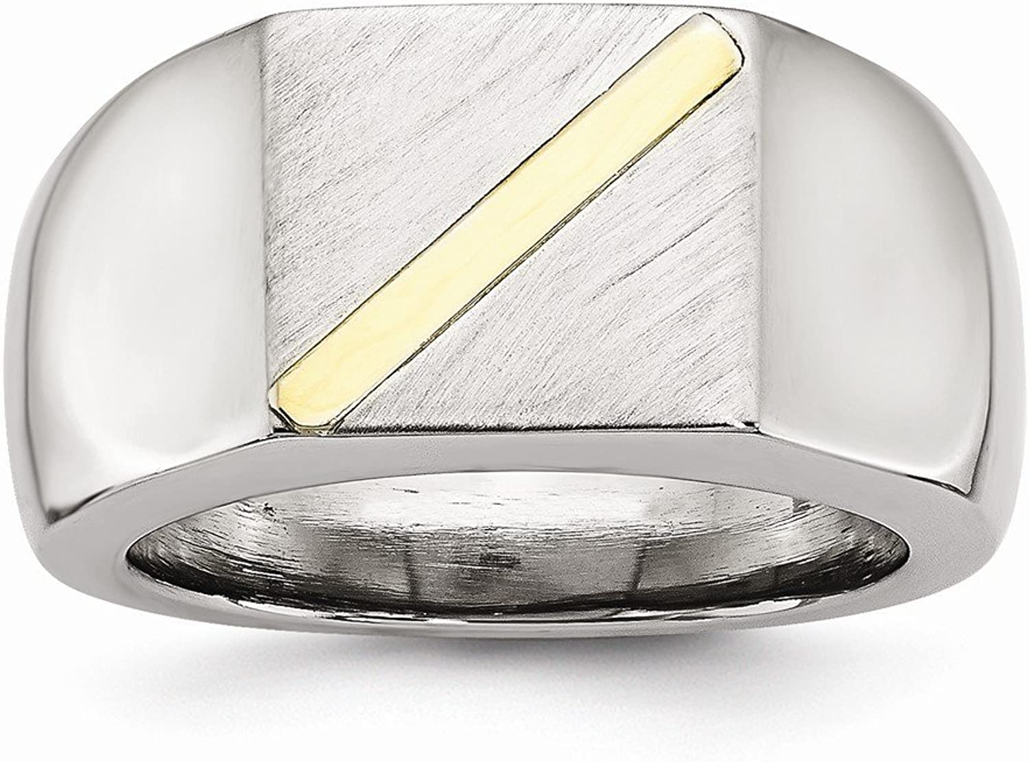 Beautiful Stainless Steel Brushed and Polished with 14K gold Stripe Signet Ring
