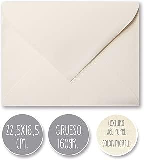 sobre boda clásico, 160gr GRUESO, GRAN CALIDAD, 22,5X16,5cm. (MARFIL) 25 und.
