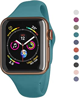 Compatible Apple Watch Series 5,4,3,2,1 Band 38mm 40mm 42mm 44mm /Airpods Container for Free/Soft Silicone Sport Wrist Strap iWatch Replacement Wristbands for Apple Watch S/M (Teal Green, 38MM/40MM)