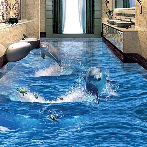 3D-vliesbehang personaliseerbaar kunstschilderij Pvc zelfklevend waterdicht creatief springen dolfijn fotobehang 3D bodemwand woonkamer badkamer dragen anti-slip sticker 430 x 300.