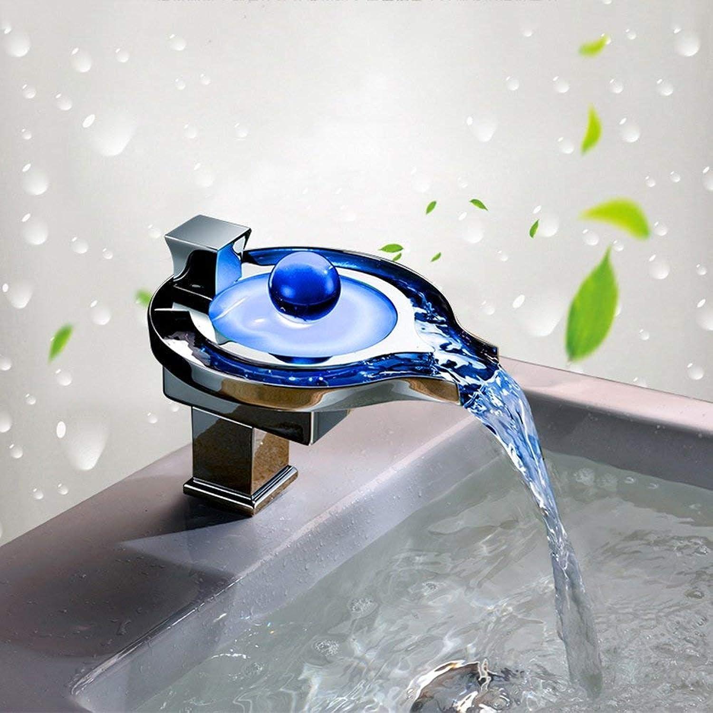 YHEGV Wasserhahn Led leuchtende Becken Wasserhahn Runde Wasserfall Wasserhahn Kupfer Wasserfall hei und kalt